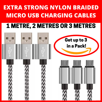 Strong Nylon 1M 2M 3M Micro USB Charger Data Lead Cable Samsung Galaxy Note Edge