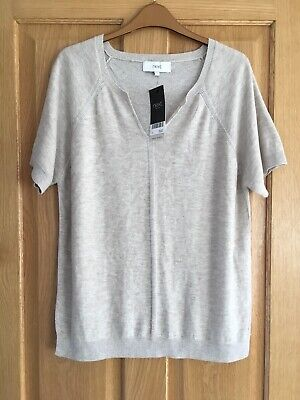 Next New Ladies Size 14 Grey Top Jumper Short Sleeves Wool Blend Sparkly