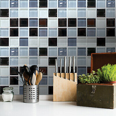 6Pcs Mosaic Self Adhesive Wall Tiles Sticker DIY Square Sheets Stick On Tile