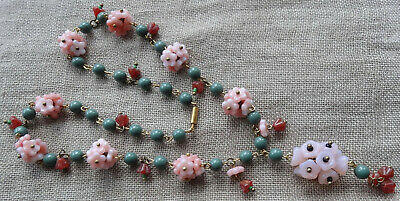 art deco 30s style pink red Czech glass flower bead wired lavalier necklace -*8