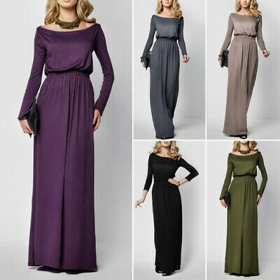 Womens Long Sleeve Casual Dress Formal Evening Party Cocktail Loose Maxi Dresses
