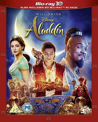 Aladdin Live Action 3D Blu Ray 2019 3D + 2D Will Smith New With Slip Cover.