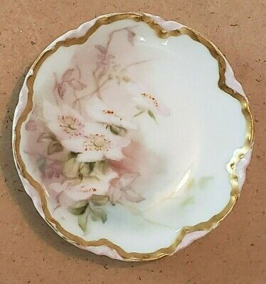 "Haviland FRANCE Vintage 3"" Butter Pat Dish - Wild Rose Pattern"