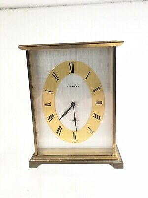 "Vintage Cortland Brass Mantle Clock 4 3/4"" - Swiss Made"