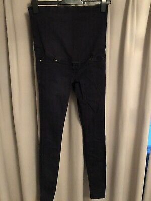 H & M Mama Maternity Overbump Skinny Jeggings/ Trousers Size 12 Navy