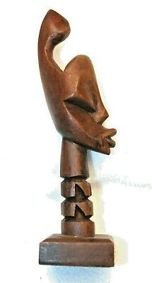 "7"" Tall Wood Hand Carved African Art Figurine"