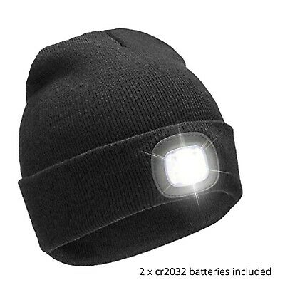 New Unisex LED Battery (Included) Powered Camping Head Torch Light Beanie Hat