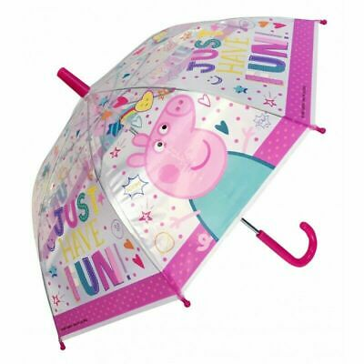Peppa Pig Clear Pink Umbrella Licensed Kids Childrens Poe Embossed Girls Bubble