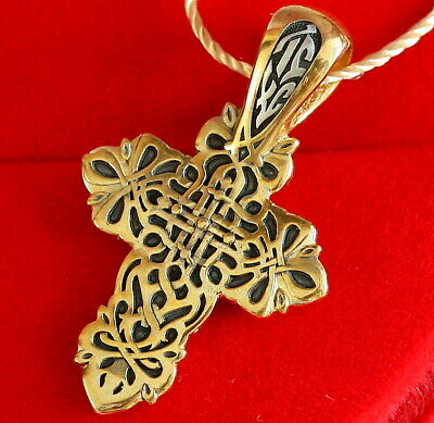 Russian Orthodox Body Cross Silver 925+.999 Gold Golgotha Cross Save & Protect