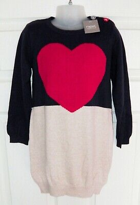 Bnwt Girls Next Jumper Dress 4-5 Yrs New Winter Christmas Heart Top Party Red