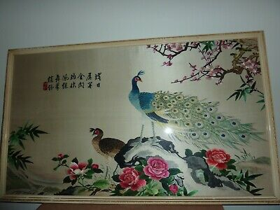 Vintage Japanese Framed 77 By 44.5Cm Silk Embroidery Of 2 Peacock On Rock/Flower