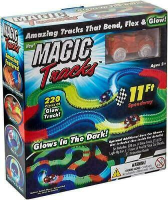 MAGIC TRACKS Glow in the Dark LED LIGHT UP RACE CAR Bend Flex Racetrack All Size