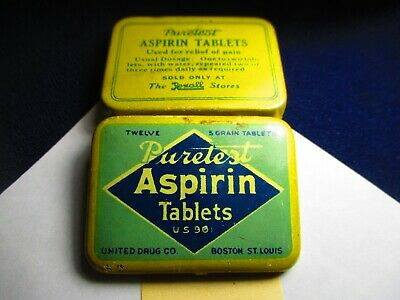 Puretest Aspirin Tablets Old Pocket Purse Tin For Rexall Drugs Boston St Louis