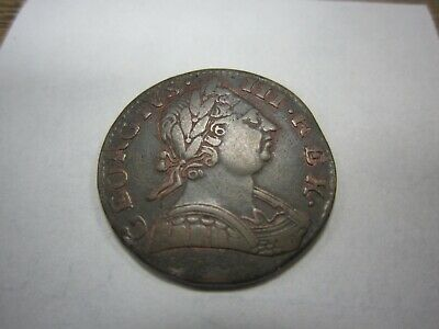 Nice Detail! 1775 British Colonial / Revolutionary War Era Halfpenny Georius Iii