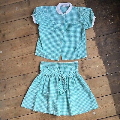 Vintage Girls Gingham Shirt And Matching Skirt Set Age 5 Years Green
