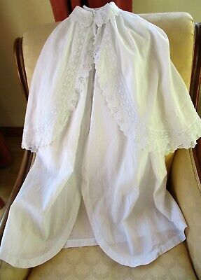 Antique Victorian Hand Made & Hand Embroidered Fine cotton Christening Cape