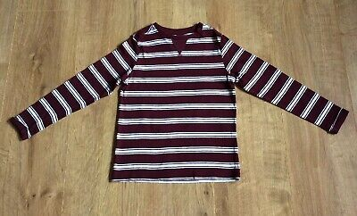 Marks & Spencer Striped Top, Burgundy/White, Cotton, L/Sleeves - Age 4-5 Years
