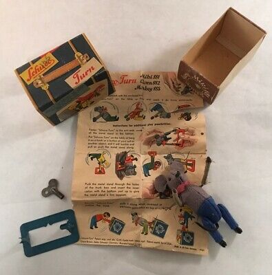 Vintage Schuco Toy Turn Miki 881 Mouse Wind-Up Toy In Box Acrobat Acrobatic