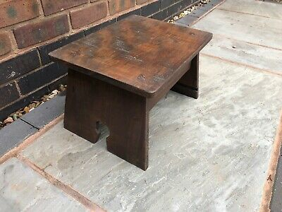 Wooden foot stool made using reclaimed wood antique retro vintage