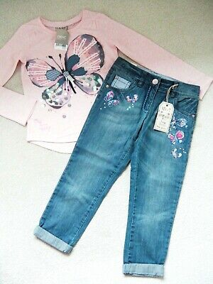 Bnwt Girls Next Butterfly Top & Jeans 7 Yrs 6-7 New Christmas Party Pink Blue