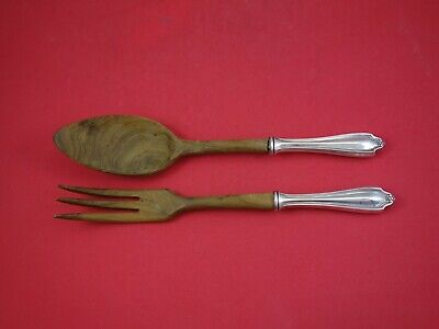 Stratford by Whiting Sterling Silver Salad Serving Set 2pc with Olive Wood 10""