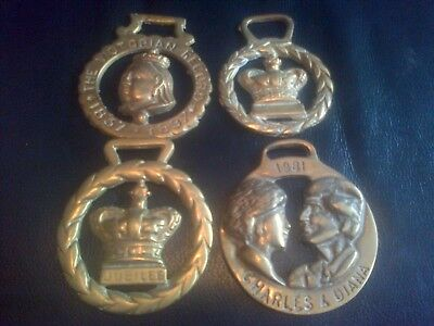 Four Vintage Royalty Related Horse Brasses