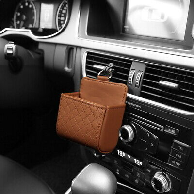 Brown Car Storage Box Universal Auto Phone Charge Holder Pouch Home Organizer