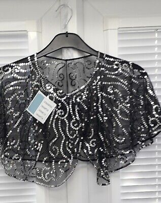 Bolero cape,Black with silver sequins, one size,ideal for cruise/xmas party