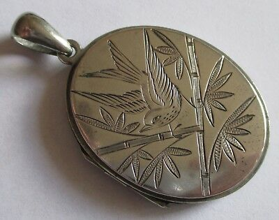Large Antique Victorian Aesthetic Etched Bird Locket Silver Plated