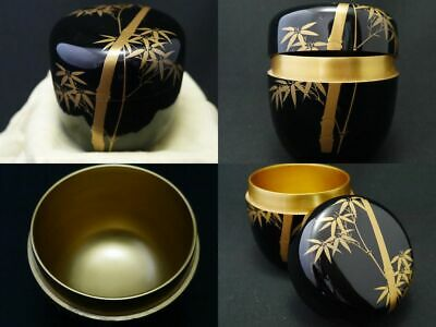 Japanese Lacquer Wooden Tea caddy BAMBOO makie Natsume Inside Gold (1113)
