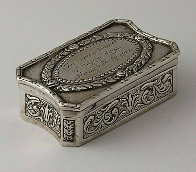 Fine Antique Continental Solid Silver Snuff Box