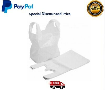"""200 WHITE PLASTIC VEST CARRIER BAGS 10""""x15""""x18"""" *SPECIAL OFFER*"""