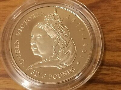 2001 Guernsey CuNi Five pounds £5 coin  :  Queen Victoria