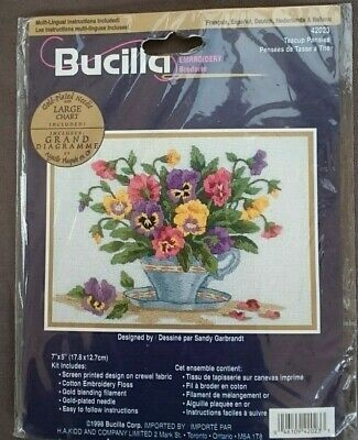 BUCILLA  Crewel Embroidery Stitching Kit - TEACUP PANSIES  42023  NEW