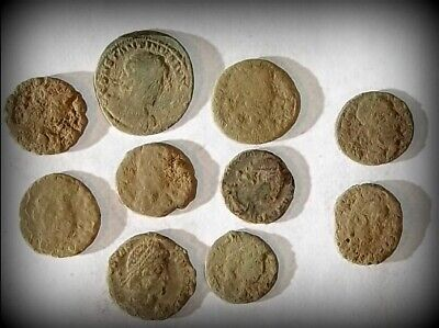 10 ANCIENT ROMAN COINS AE3 - Uncleaned and As Found! - Unique Lot 31429
