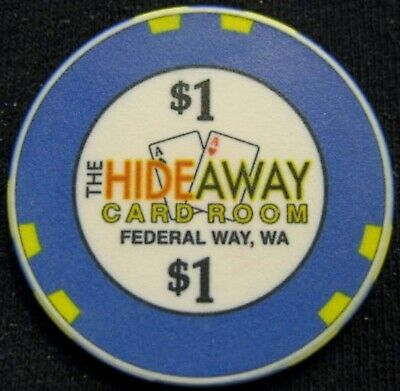 HIdeaway Card Room - $1 Casino Chip - Federal Way WASHINGTON - Obsolete