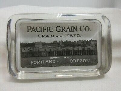 Antique - Portland, Oregon Glass Paperweight Pacific Grain & Feed