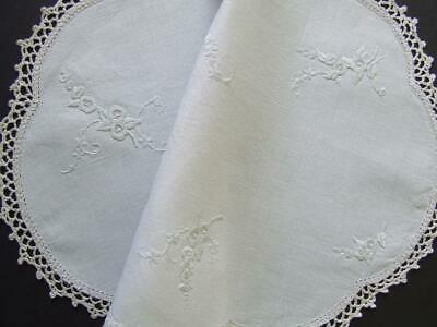 Beautiful Vintage Linen Hand Embroidered White on White Centre - Crocheted Edge