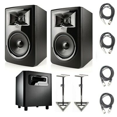 """JBL 306P MkII 6.5"""" Monitors (2) w/ JBL LSR310S Subwoofer Monitor Stands & Cables"""