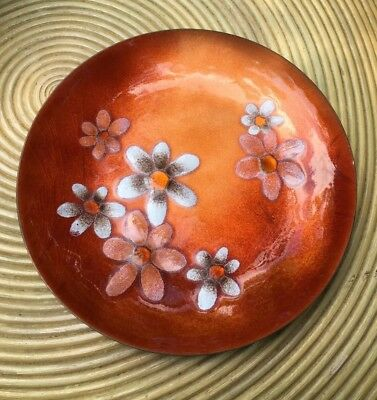 Mid Century Modern Bovano Cheshire Enamel On Copper Stenciled Flower Dish 8""