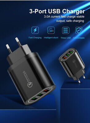 3 ports USB Charge rapide QC 3.0 adaptateur chargeur mural pour iPhone Samsung