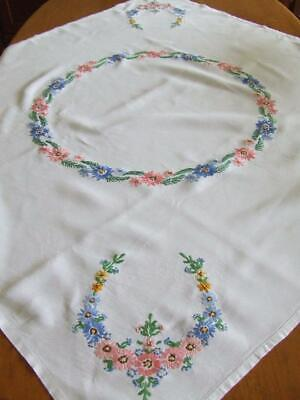 Vintage Hand Embroidered Linen Tablecloth - Colourful Daisies - Use or Craft