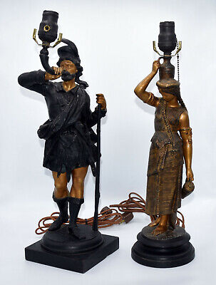 Two Antique Cold Painted Spelter Fine Detail Statues Lamps Scotsman Need Rewired