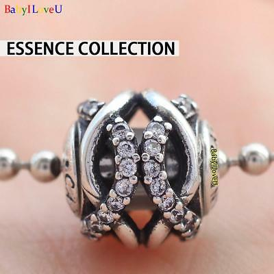 S925 Sterling Silver Essence Collection CARING Charm Clear CZ Bead Fit Bracelet