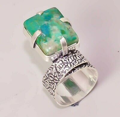 Natural Azurite Malachite Jewelry Designer 925 Sterling Silver Plated Ring 8
