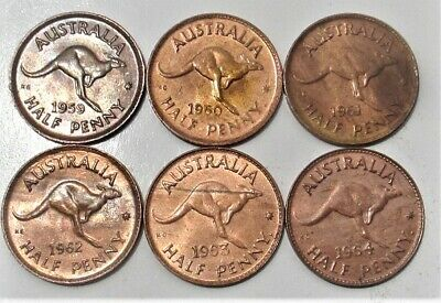 Australian half pennies 1959 1960 1961 1962 1963 1964 great condition
