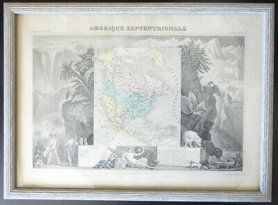 1849 Levasseur North America Color Map with Republic of Texas Beautifully Framed