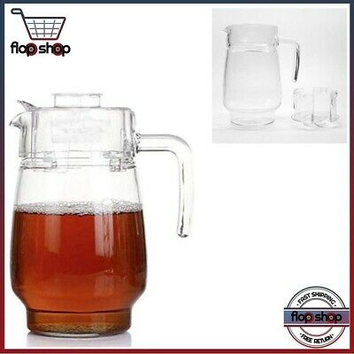 Glass Pitcher With Lid, Hot/Cold Water Carafe, Juice Jar And Iced Tea Pitcher (5