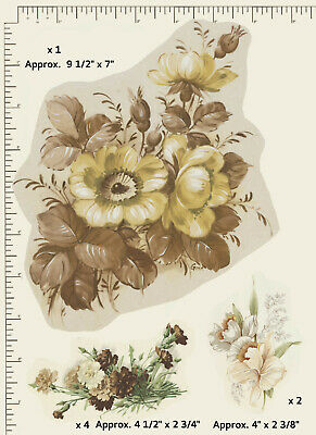 7 x Ceramic decals Decoupage Yellow / Brown florals Daffodils Carnations T11