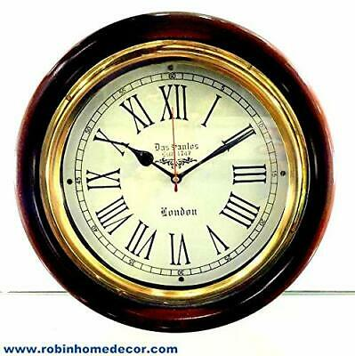 London Estd. 1747 Antique Look Silent Wall Clock, 12 Inch Brass And Wooden Analo